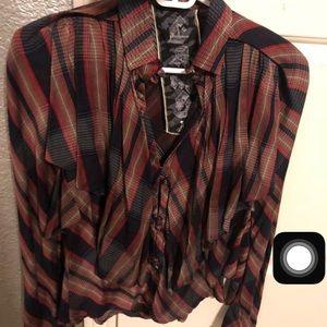 L.A.M.B plaid button down ruffle blouse